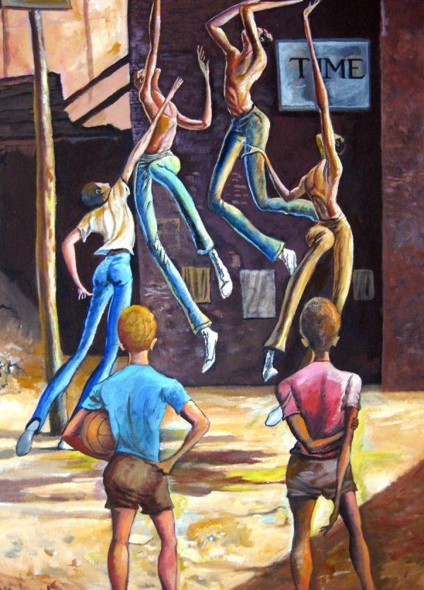 Ernie Barnes Paintings Basketball