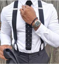 black suspenders and knit tie | fashion | Pinterest | Moda ...