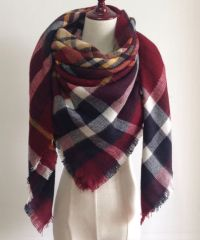 Burgundy Red, Navy Blue, and White Plaid Blanket Scarf ...