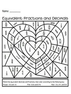 fun math coloring activity on equivalent fractions