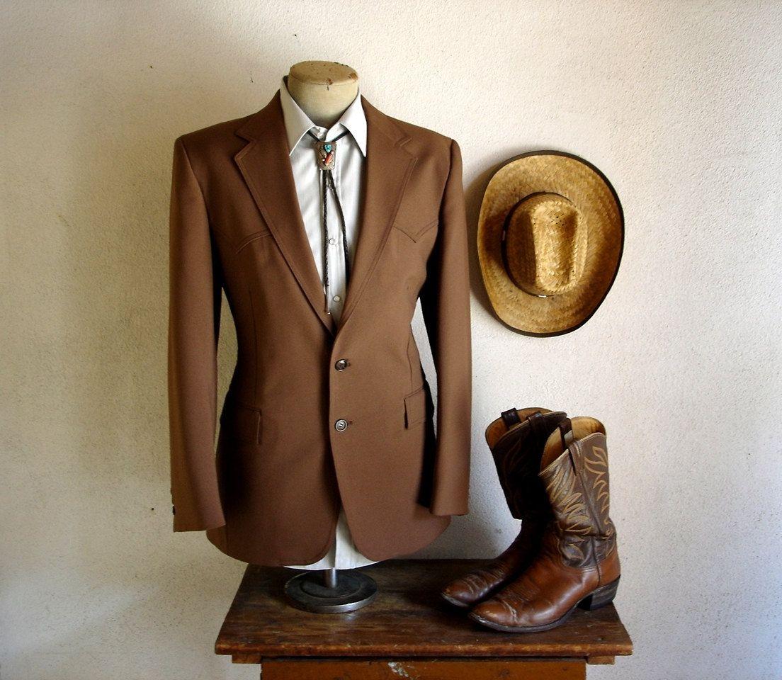 1970s LEVIS Western Suit Jacket Mens Vintage Brown Cowboy