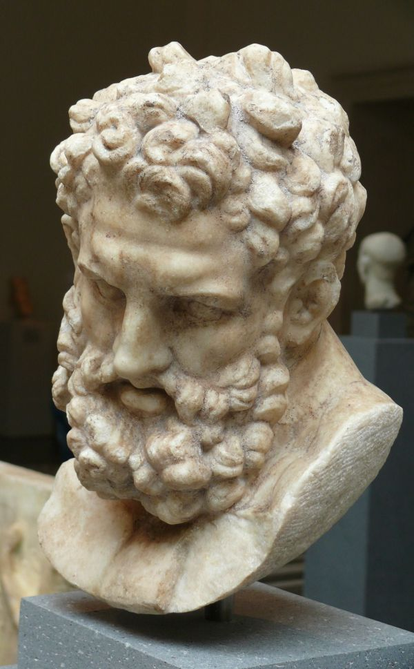 Head Of Herakles Marble Roman Imperial Period 1st