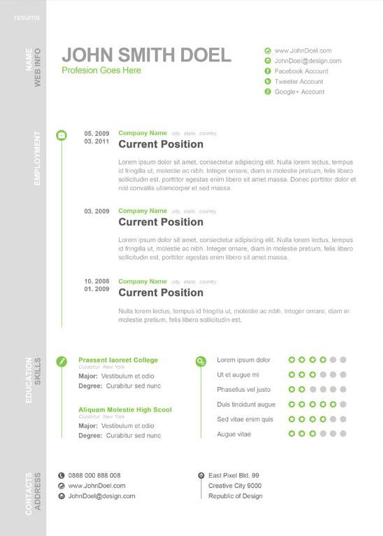 Modern One Page Resume Template Creative Resume Templates