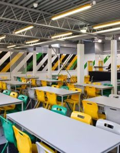 Industrial style school cafeteria interior design green grey and yellow also rh pinterest