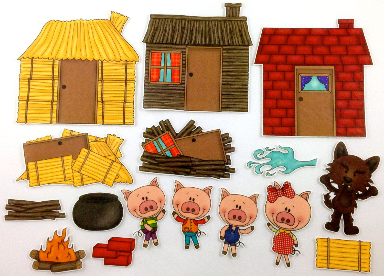 Three Little Pigs Felt Board Story Set By Bymaree On Etsy