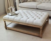Furniture: Awesome Grey Square Fabric Ottoman Coffee Table ...