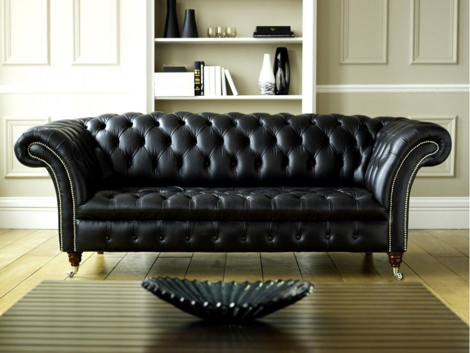 Furniture Awesome Black Leather Chesterfield Sofa Design