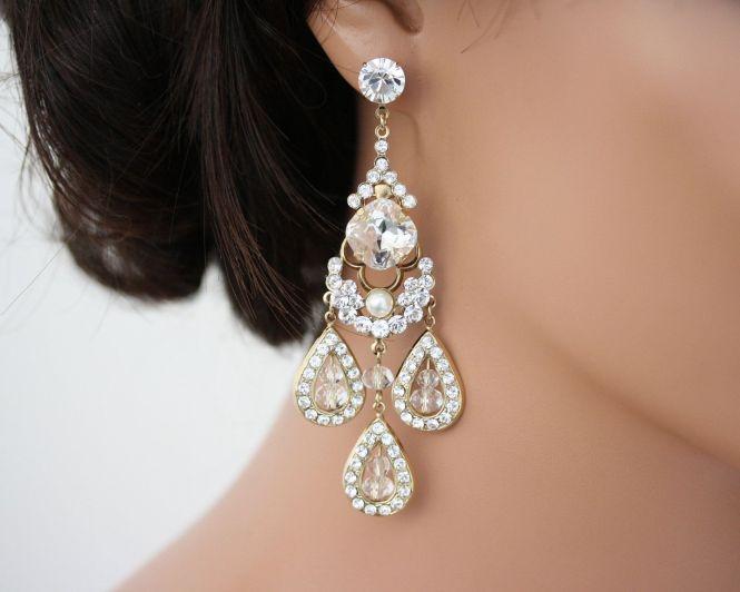 Gold Chandelier Earrings Wedding Jewelry Large Rhinestone Majestic Leona