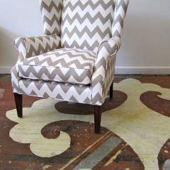 Grey Wing Chair Small Futon Gray Chevron Back And Painted Stenciled Floor