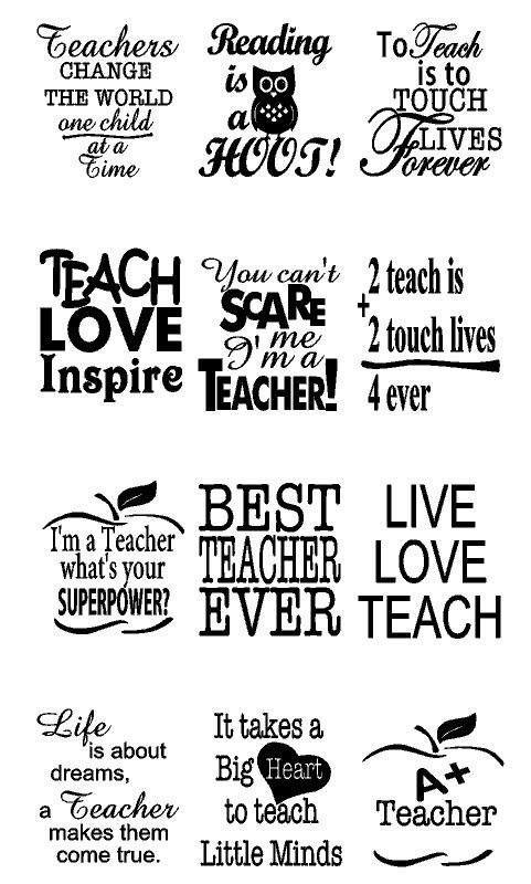 Teacher Appreciation Decals 12 Quotes 4 Personalized