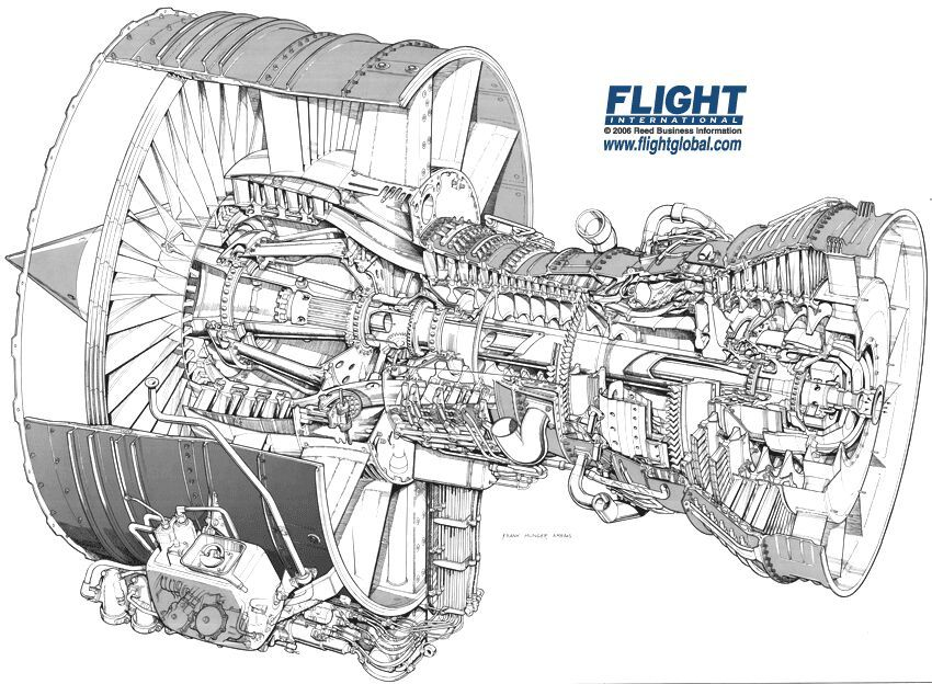 Cutaway of CFM 56 turbofan. Typical Boeing 737's and
