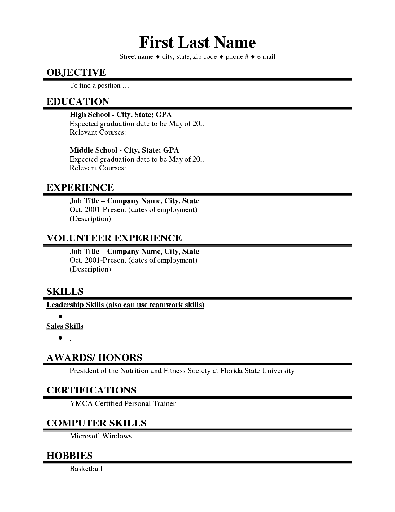 Good High School Resume First Job Resume Google Search Resume Pinterest