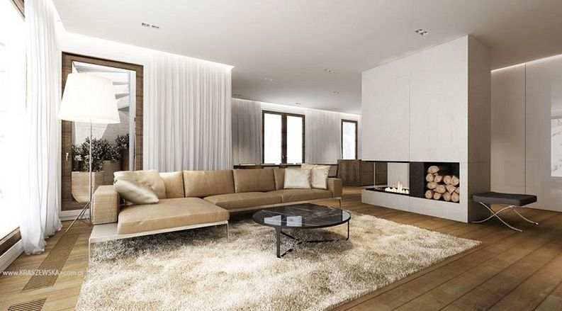 L Shaped Sofa Modern Fireplace : Simple, Modern And Cozy
