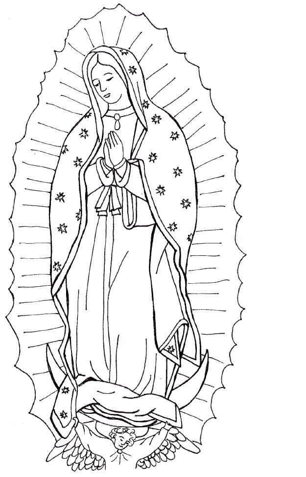 Our Lady of Guadalupe coloring page- Use to make paper bag