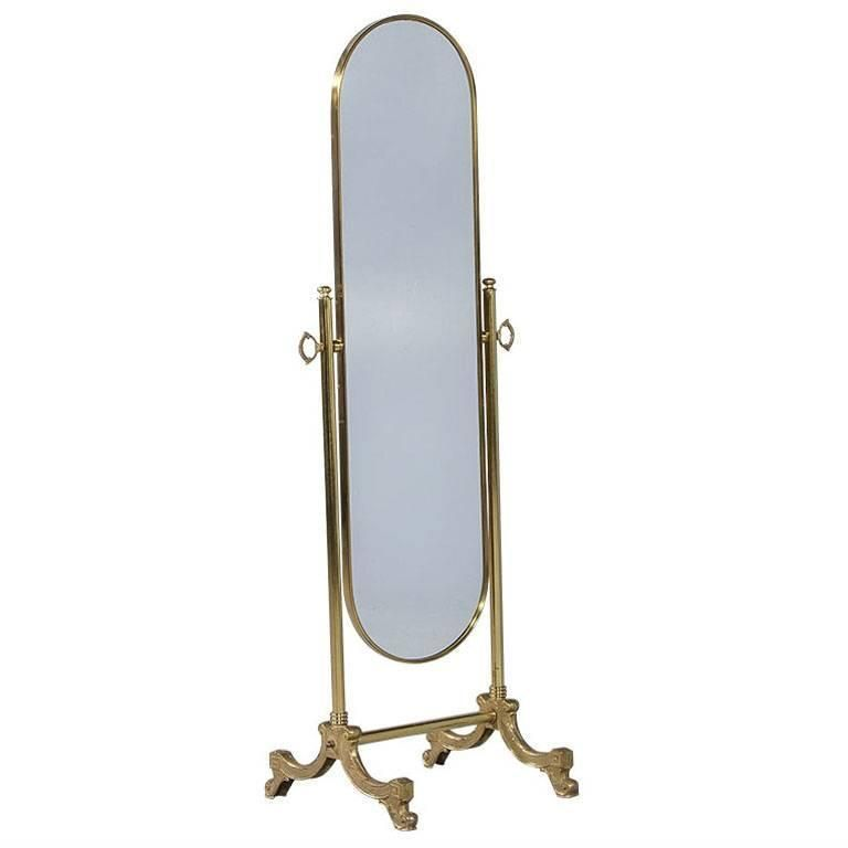 French Oval Cheval Mirror with Brass Stand  Cheval mirror