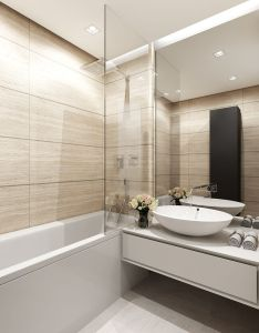 Bathroom takes advantage of light wood look tiles to create an elegant but homey also rh pinterest