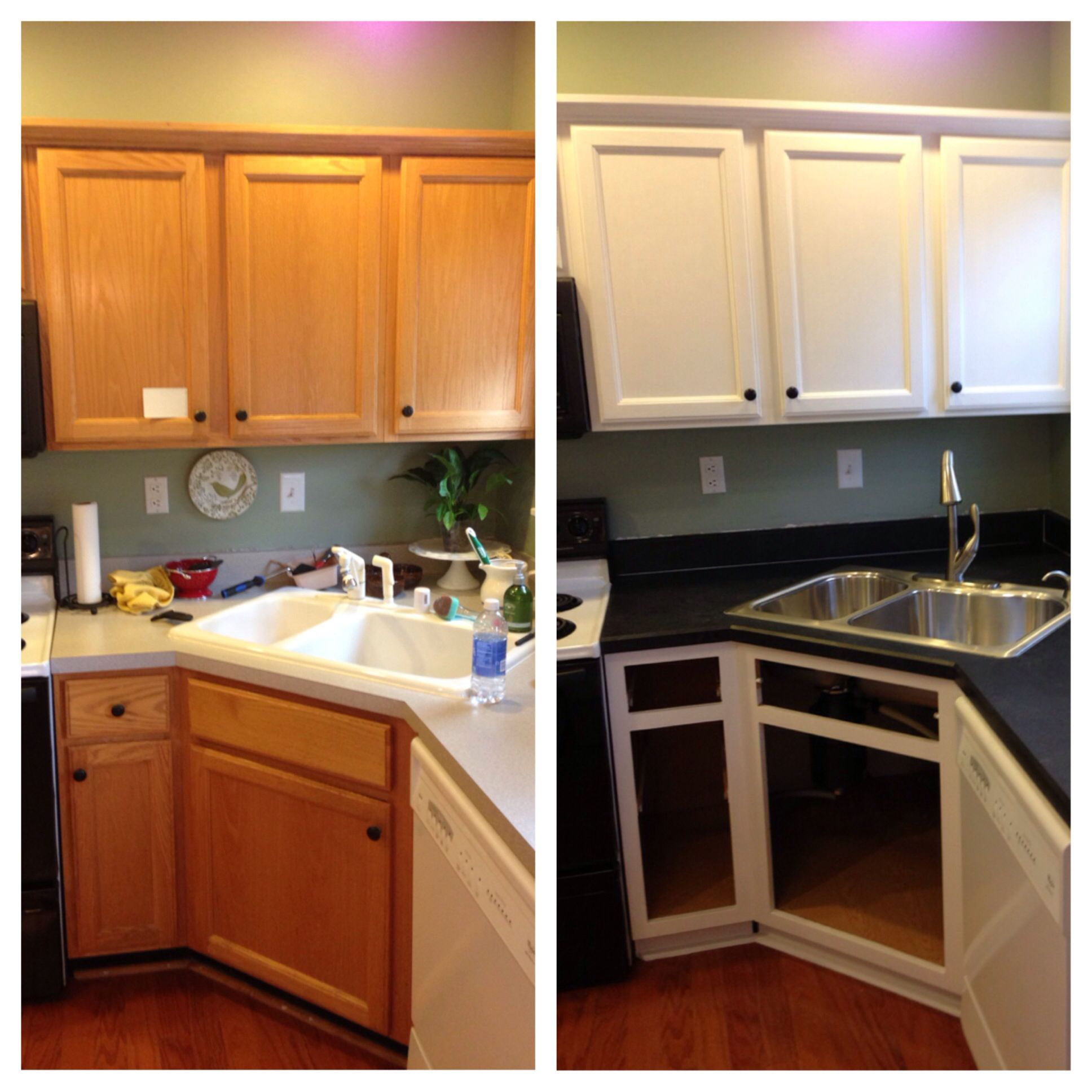 DIY painted builder grade oak cabinets white Used