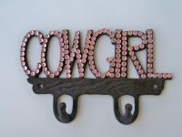 Pink Cowgirl Sparkle on Brown Metal Wall Decor with Hooks ...
