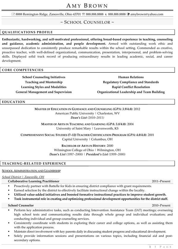sample resume for high school counselor