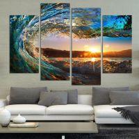 4 Panels, Modern Beach, Ocean, Wave Scene Wall Art | Beach ...