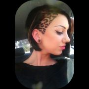leopard print side undercut hair