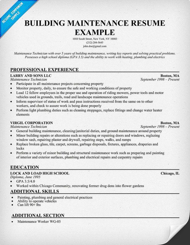 Building Maintenance Resume Sample Resume Pinterest Resume