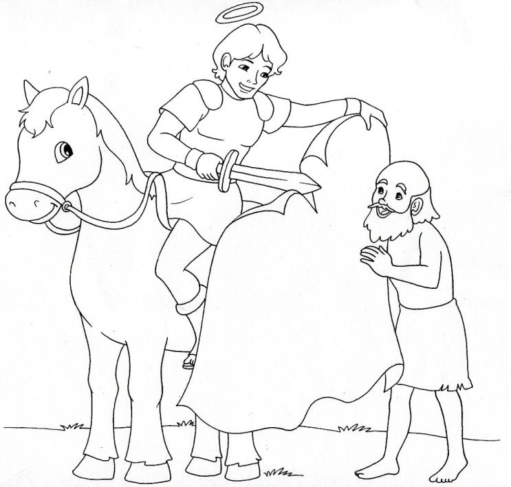 Saint Martin of Tours Catholic Coloring page. Feast day