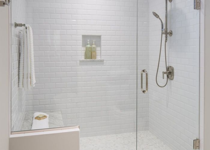 All white bathroom with subway tile even on the ceiling sunfish lake mn also