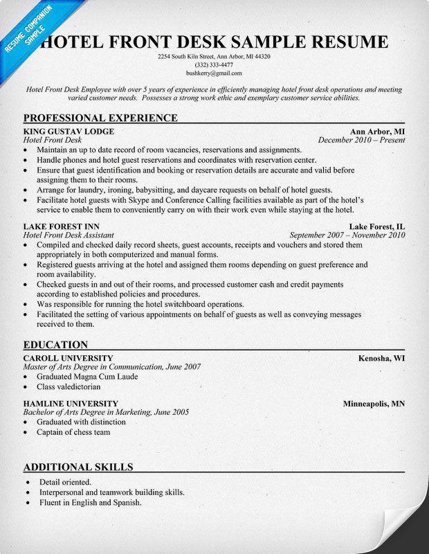 Hotel Front Desk Resume Resumecompanion Com #Travel Resume