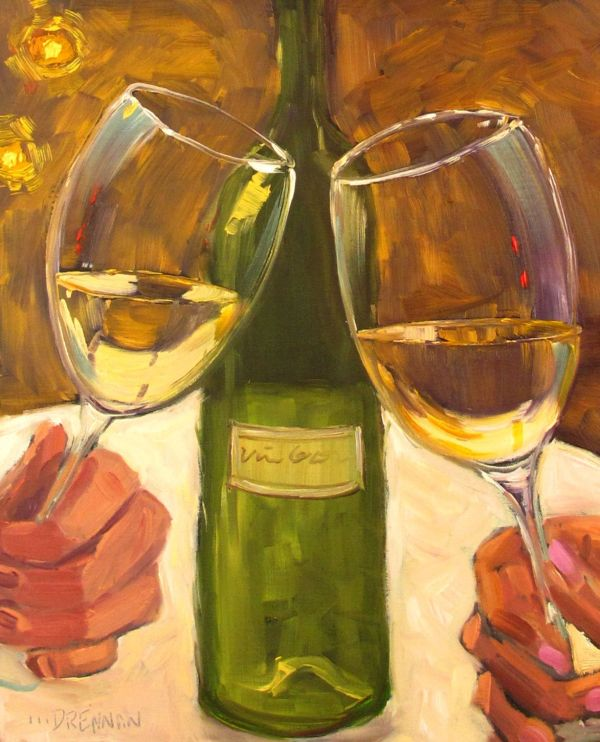 Oil Paintings of Wine Bottles and Glasses