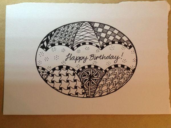 Zentangle Pattern Ideas Diy Birthday Card
