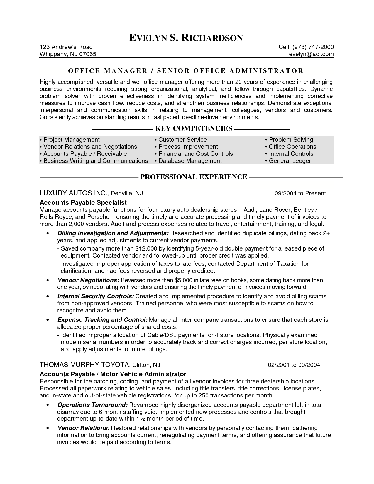 Resume Objective For Office Manager