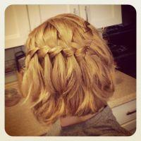 Waterfall braid, medium length short hair, honey blonde ...