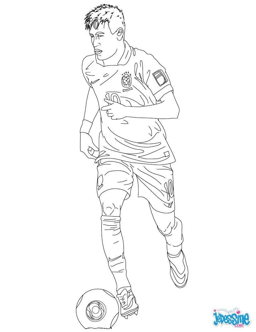 Coloriage Du Joueur De Foot Neymar Imprimer Gratuitement Ou Colorier En Ligne Sur Hellokids