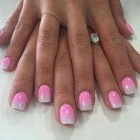 Pink and white ombr dip powder nails | Nail Art ...