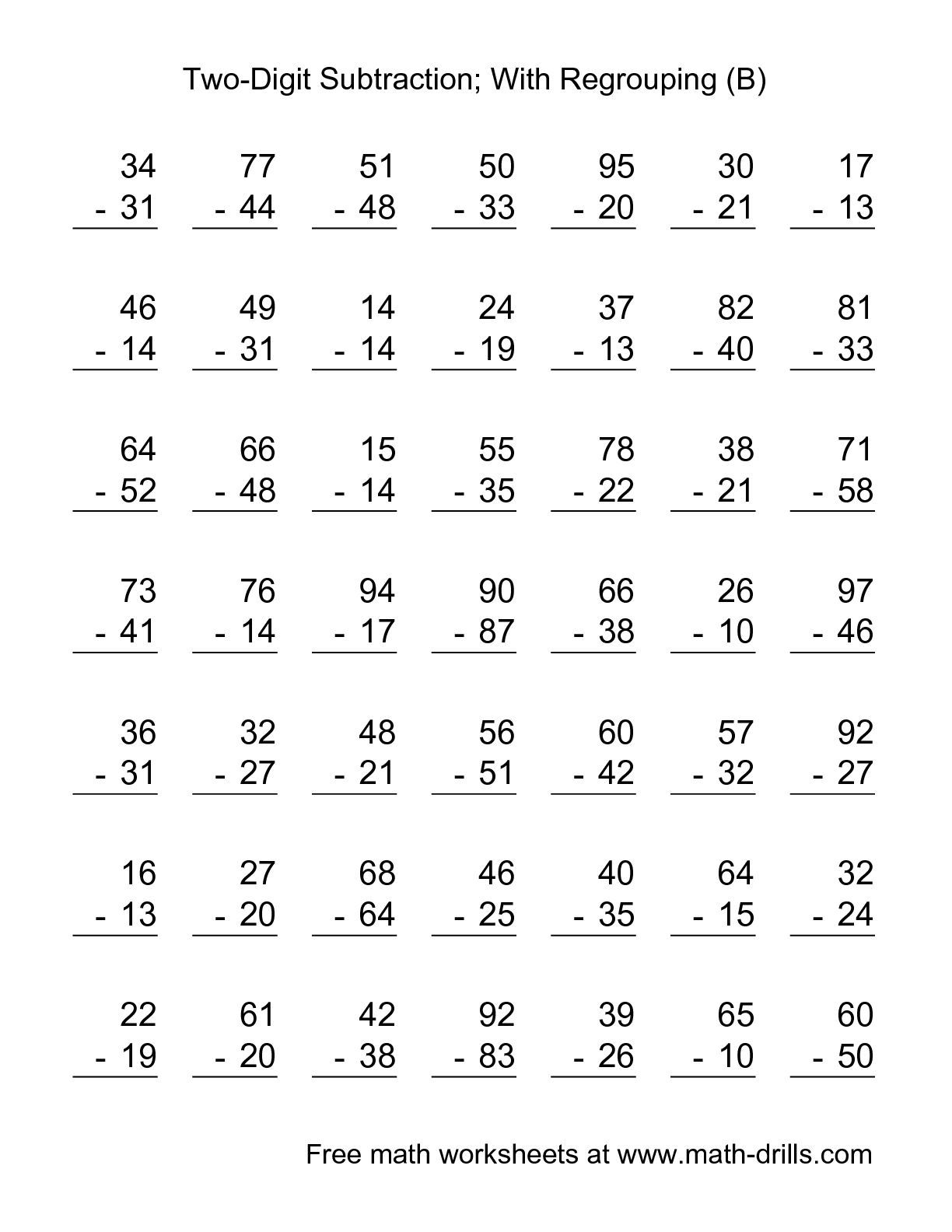 The Two Digit Subtraction With Some Regrouping 49 Questions B Math Worksheet From The