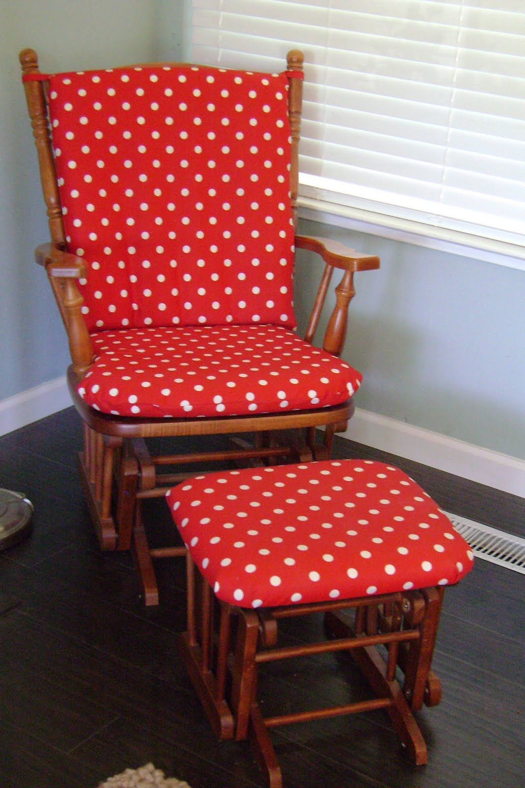 polka dot rocking chair cushions ghost replica chairs red and white glider baby 39s room ideas