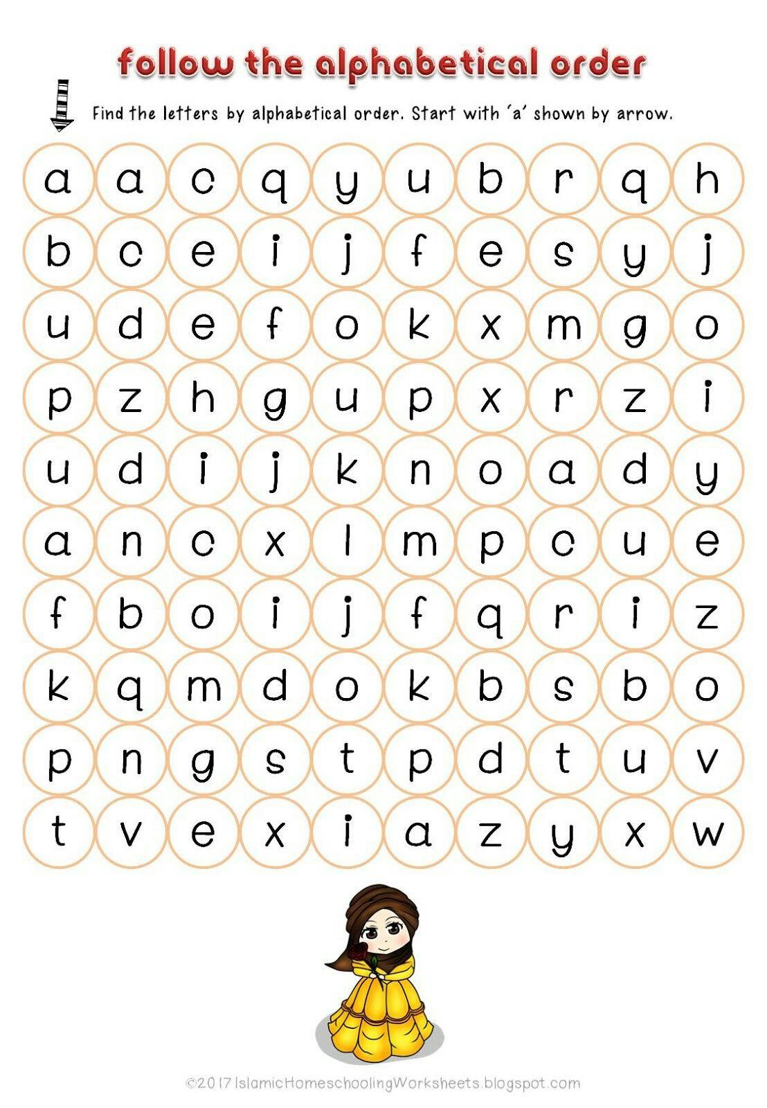 Follow The Alphabetical Order In Free Disney Princess Preschool Pack Islamic Version