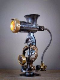 Lamp, steampunk? Old meat grinder. | And then there was ...