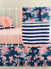 Coral and Navy Baby Girl Bedding, Stripe and Floral Chic