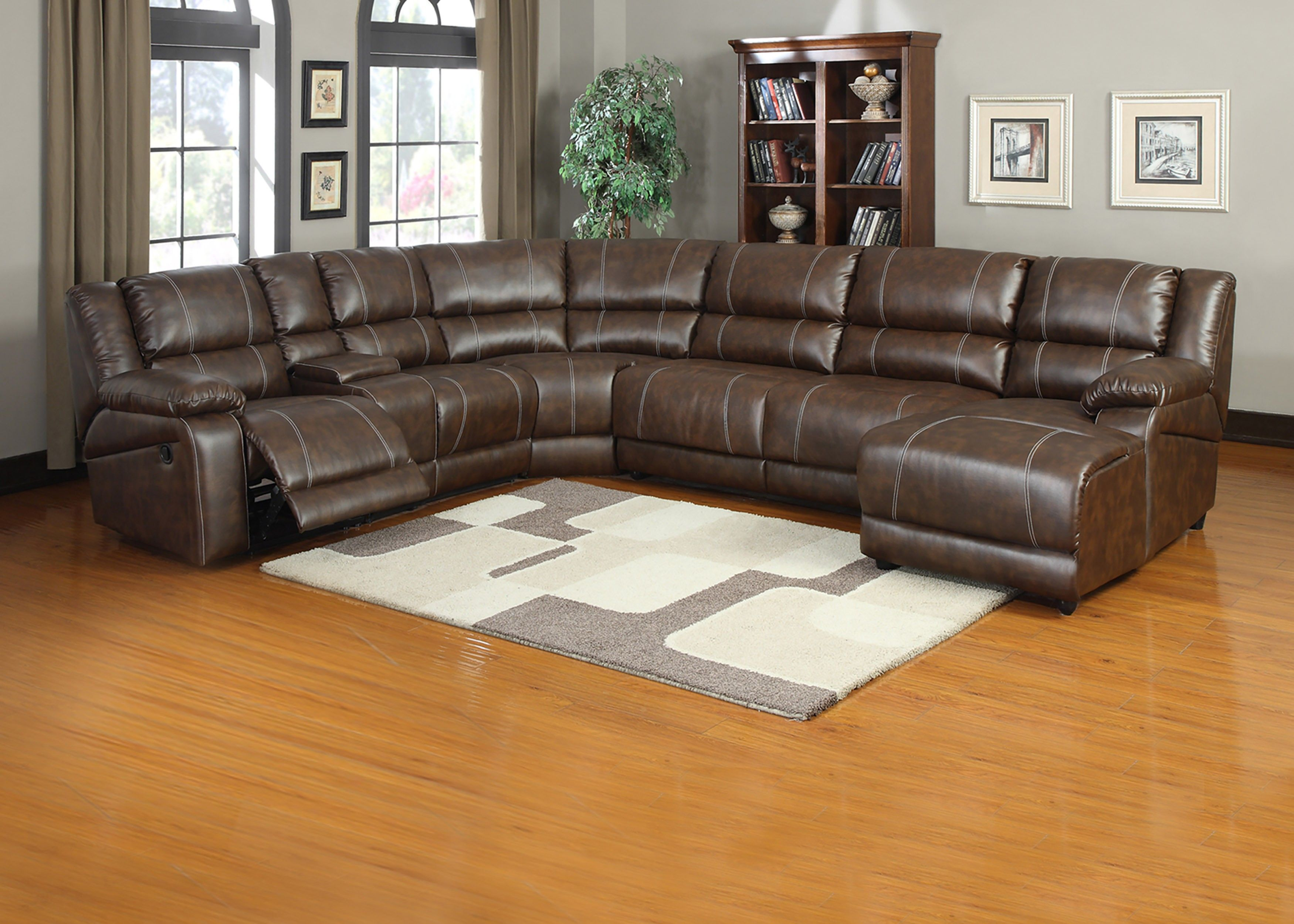 leather sofa with chaise and recliner sectional phoenix az 6 pieces saddle brown bonded reclining