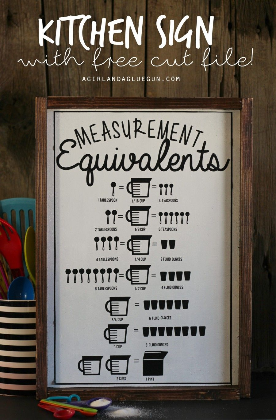 Kitchen Measurement Equivalent Sign With Free Cut File