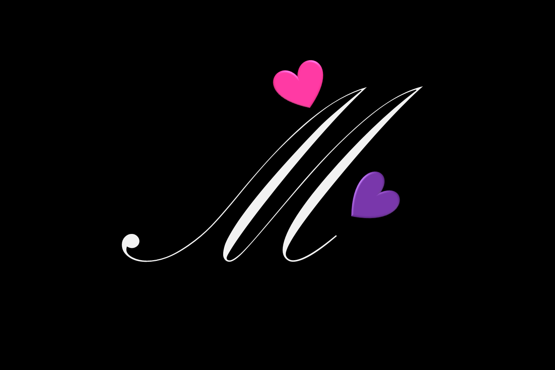 Heart Letter Stylish M