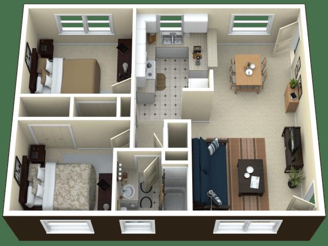 3D Floor Plan image 2 for the 2 Bedroom Apartment Floor