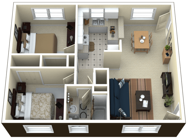 3d floor plan image 2 for the 2 bedroom apartment floor plan of
