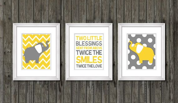 Twin nursery decor elephants for twins quote yellow and gray also rh pinterest