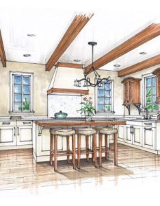 Tuscan inspired kitchen with louvered door cabinets interior renderinginterior sketchdrawing interiorsketch designkitchen also inspiration rh uk pinterest