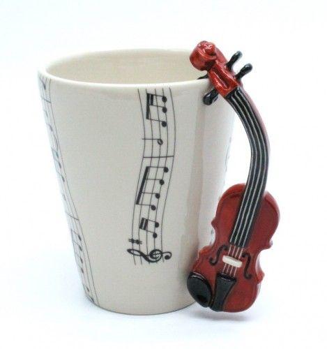 Violin Mug Ceramic Coffee Cup Handmade Home Decor Music Lover