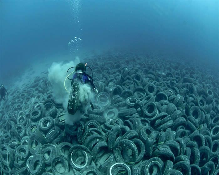 Image result for Tire garbage dump in the sea