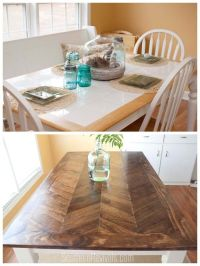 From Tile Top to Herringbone Table Makeover | Diy wood ...